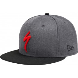 New Era 9fifty Snapback Hat S-Logo Hthr Gry/Blk/Red Osfa
